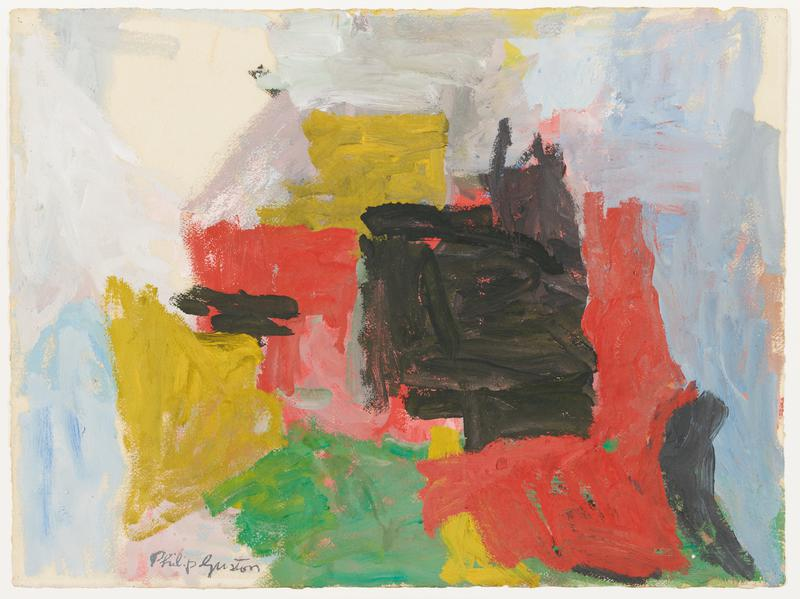 abstract image with blocks of thick pigment; yellow, blue, green, red, black