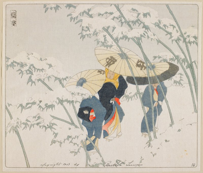 three women with umbrellas; snow covered bamboo beside path