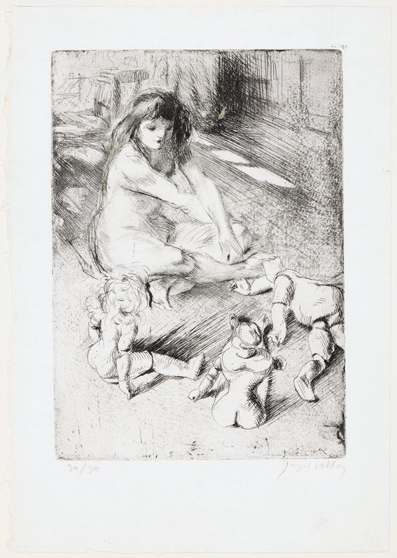 nude girl with long dark hair seated cross-legged on floor with three undressed dolls