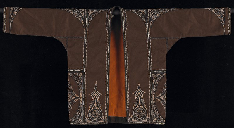 long brown jacket with orange wool lining, PR; large inside pocket; black cord and metallic thread design embroidery and edging; orange thread and metallic thread appears to have been wrapped together, creating special effect; quality embroiery and sewn details indicate a garment for man of high standing; all seams corded