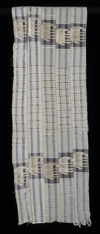 five woven strips stitched together; black, yellow, white, silver metallic; vertical and horizontal stripes interspersed with elephants and floats