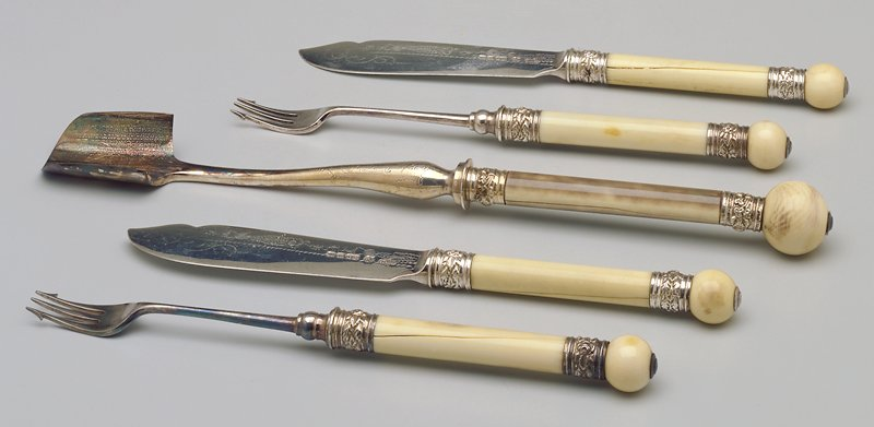 ivory handles and finials; in fitted box, cheese scoop, two forks and two knives