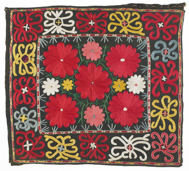 Black wool ground with polychrome silk embroidery. There is a block printed cotton substrate through which the embroidery is worked. A hand written inscription is seen on one edge of the substrate. There is no finish treatment on the edges, and backing. Three edges are turned under and basted; one edge is raw and partially detached. Center square surrounded by border. All is embroidered. Chain stitch.