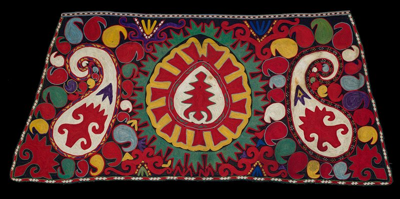 Embroidered band at top, Pieced ikat lining. Heavy plain weave wool ground with tan warp and black weft. Polychrome silk embroidery. embroidered chain stitch borders are integral on the sides and bottom edge. The top border is applied, embroidered in silk on silk and hand sewn in place. There is a silk/cotton ikat backing. Raw and frayed edges are seen on the face, suggesting a missing fringe or binding.