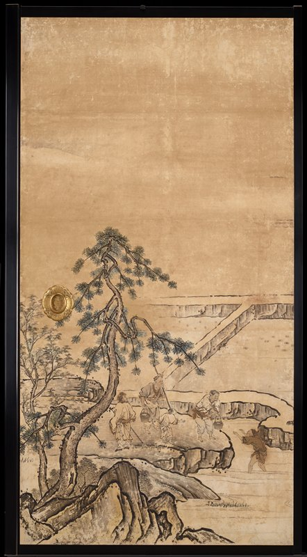 unsigned; from the Saga Palace, Kyoto; tree in foreground; four figures--one in water at right