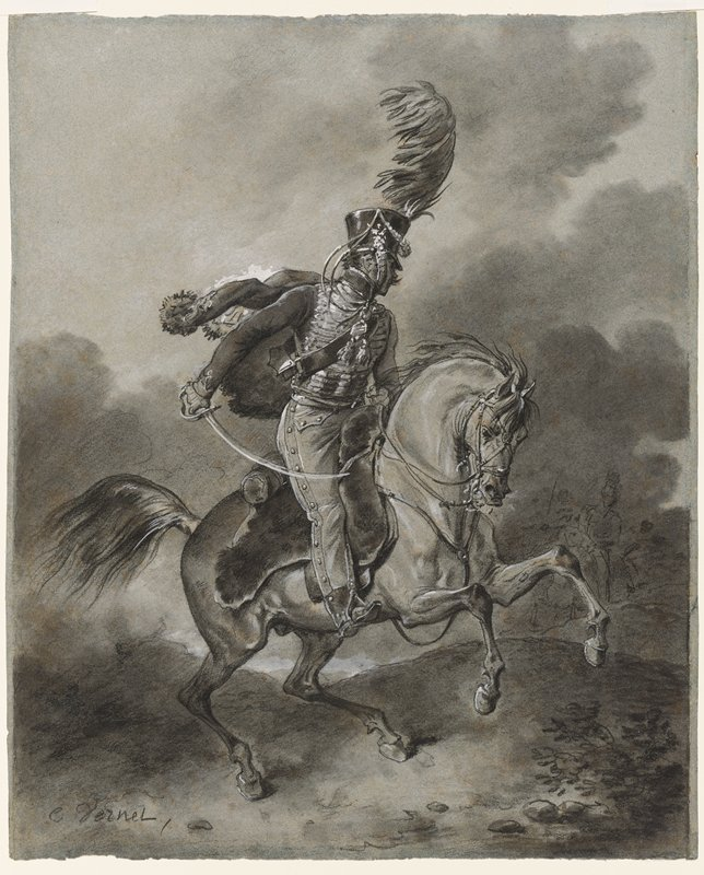 soldier wearing an elaborate uniform and carrying a curved sword, riding a prancing horse; stormy skies