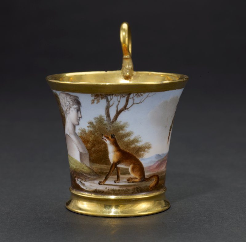 Presented by Emperor Napoleon the First to Prince William of Prussia in 1808; painted with scenes from the Fables of La Fontaine.