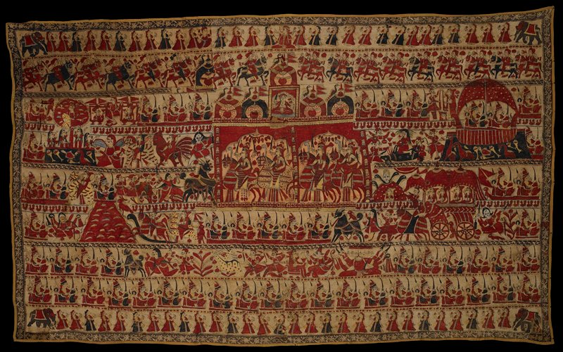 block printed and painted; rows of figures in various scenes painted in red, blue and yellow, with brown decorative border; yellow backing