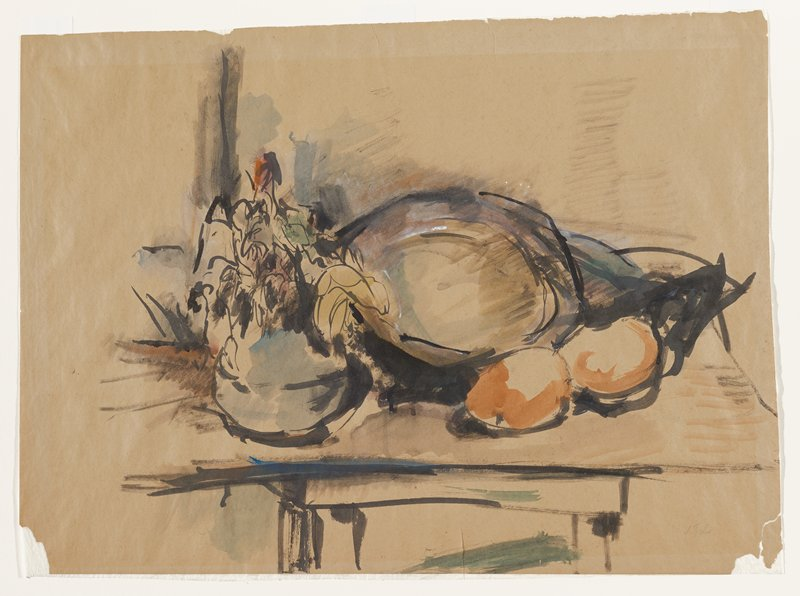 abstracted still life with rounded fruits and foliage in blue vessel at left