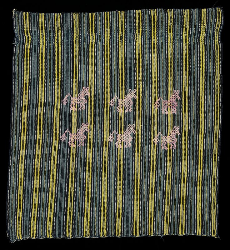 woven vertical stripes in blue, yellow, black and white with six pink embroidered horses in center of piece; ends were finished in the weaving process