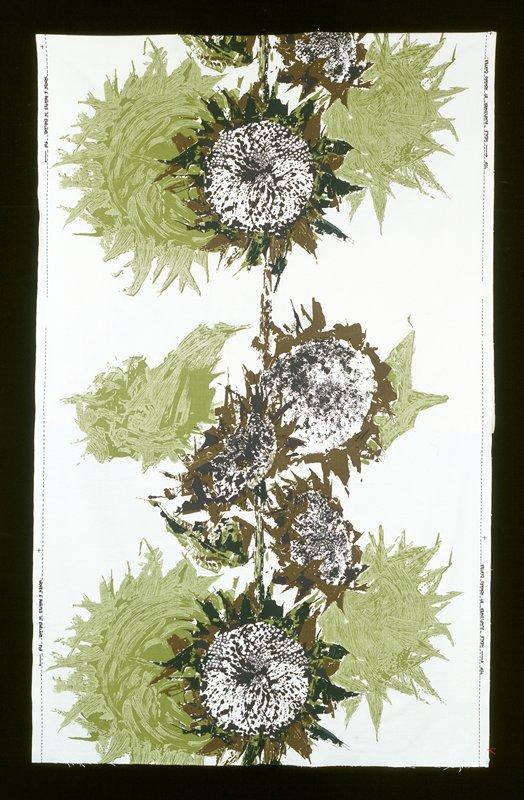 2-1/3 repeats; bkg. ecru; sunflowers motifs black, brown, dark and light green