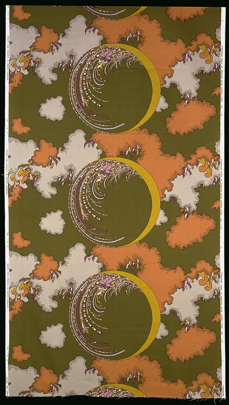 4-1/2 repeats; moon in sky with clouds, plants, grains, flowers; bkg. dark green, grey, brown, purple; yellow green, white yellow, mauve