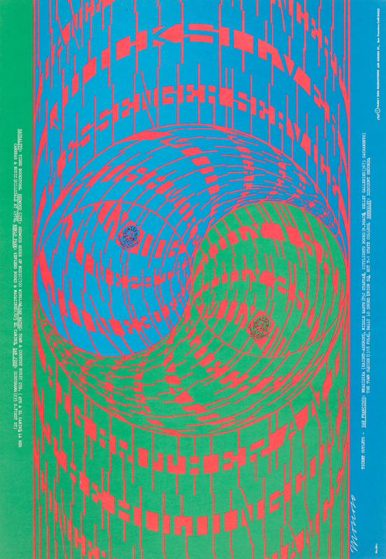 Family Dog poster no. 68; curling text in blue and green over red with two circles at center; green along one long side and blue along other long side, each with white typewritten text
