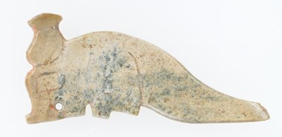 Pendant flat silhouette of an animal with a horn and curved back (concave) small perforation incision lines to suggest vaguely the details of the animal, on both sides, however appears to be incomplete. Ivory jade, mottled in blue traces of red pigment.